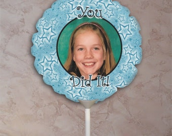 Personalized  Photo Balloon With Blue Stars For Graduation And Accomplishment Celebrations With Your Photo Image And Text Personalization