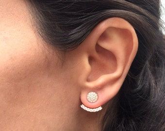 White CZ stone Ear jacket Earrings / Ear jacket Earrings / Minimalist Ear Jacket  / Rose Gold Ear Cuff