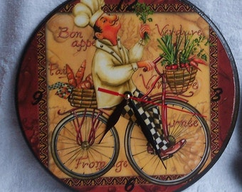 Decoupage wooden wall clock with cook, kitchen clock, decoupage brown clock, kitchen decor