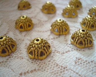 Sale! 22 Large Golden Vintage Style Dome Caps. 12x6mm. 6-Open Domed Windows! Antq Finish. Ornate, Lovely and Unique!  ~USPS Ship Rates/OR