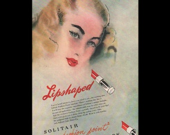 Vogue magazine ad for Solitair fashion point lipstick, Lipshaped, matted - Beauty0278