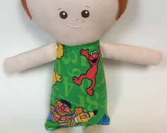 """SALE*Handmade Boy Cloth Doll 12"""" Ryan Plush Softie Rag Doll With Auburn Wool Felt Hair"""