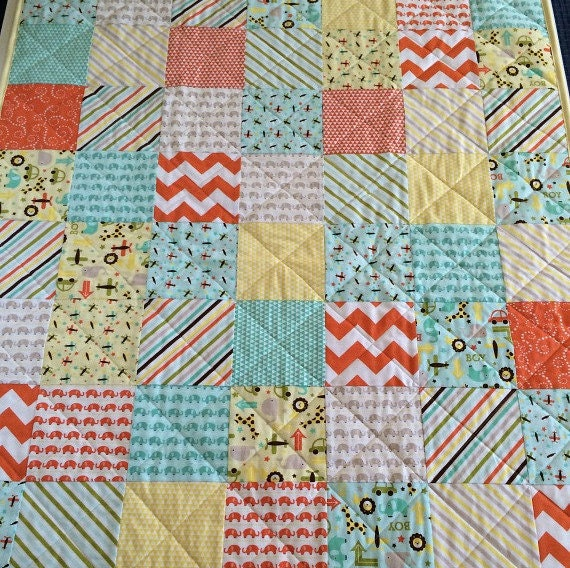 Patchwork Quilt For A Boy: Baby Boy Quilt Chevron Patchwork Quilt By LittlebCottonShoppe