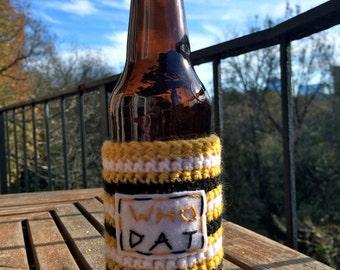 New Orleans Saints Crochet Bottle Cozy