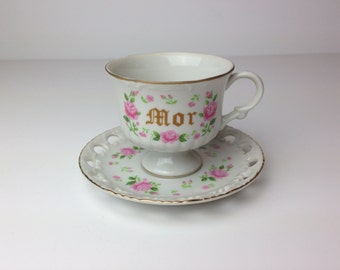 Vintage Scandinavian Tea cup and saucer / Gift for mother / White with pink roses
