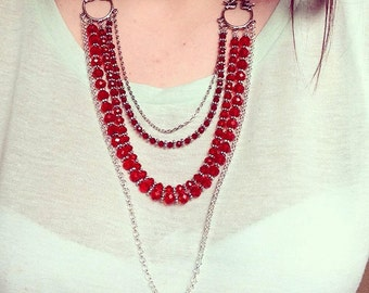 Cute Silver Bird Necklace with Red Crystals