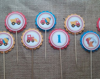 Construction birthday cupcake toppers set of 20