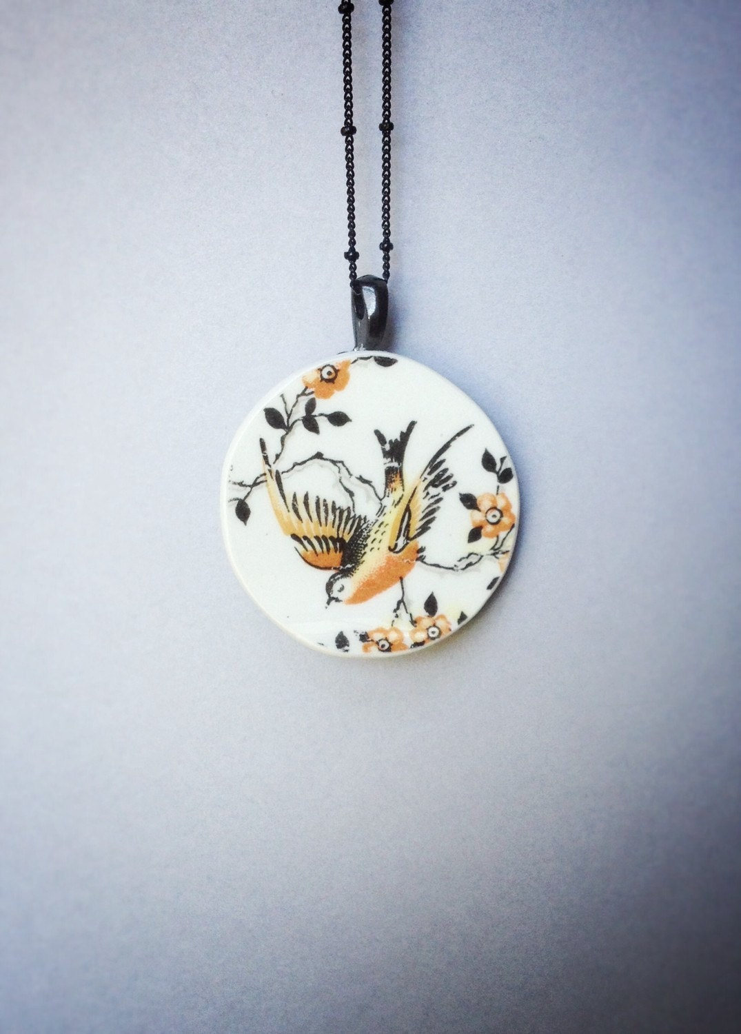 broken china jewelry vintage round bird by cellardoorshoppe