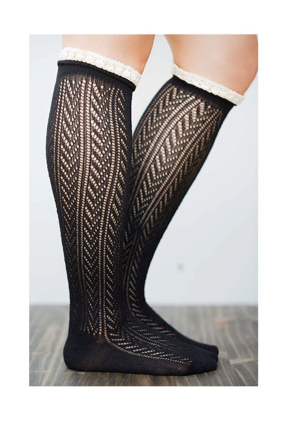 knee high lace socks black boot socks by lovoda on etsy