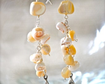 Puka Shell Earrings, Dangling Shell Earrings, Mother of Pearl Earrings, Sterling Leaf Earrings, Sterling Chain Earrings