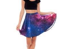 Galaxy Printed Skater Skirt, High Waisted Skater Skirt with Very Vibrant Colours, Mid Length, Galaxy Clothing, All Sizes, Quality Fabric
