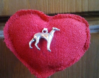 Handmade fabric heart brooch with metal greyhound, lurcher, whippet charm