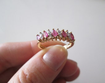 Ruby Gold over sterling silver vintage ring, size 8, like NEW!