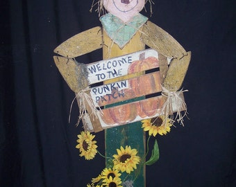 """E Pattern, 64"""" Scarecrow, Wood Pattern Packet, Fall, Harvest, Pumpkins, Sign, Sunflower, Primitive, Halloween, Photo Prop, Scarecrow FB-119"""