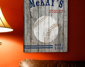 Personalized Mancave Canvas Print - Man Cave Canvas Print -  Mancave Canvas Sign(885baseball)