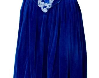 1930s Medium Dress Blue Velvet Peasant Fairy Tale Sleeping Beauty Cosplay Renaissance Faire Snow White Fairy Halloween Folk Milkmaid Lolita