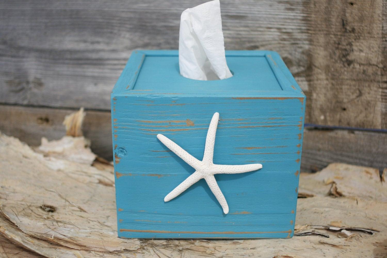 Tissue kleenex cube box cover starfish beach ocean bathroom - Beach themed tissue box cover ...
