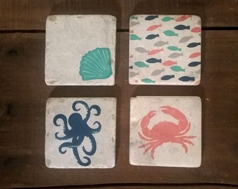 Under The Sea Coaster Set (4) Ceramic Coasters, Octopus, Crab, Fish, Conch shell