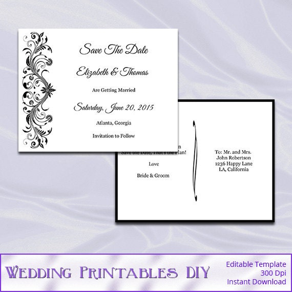 Items Similar To Wedding Save The Date Postcard Template
