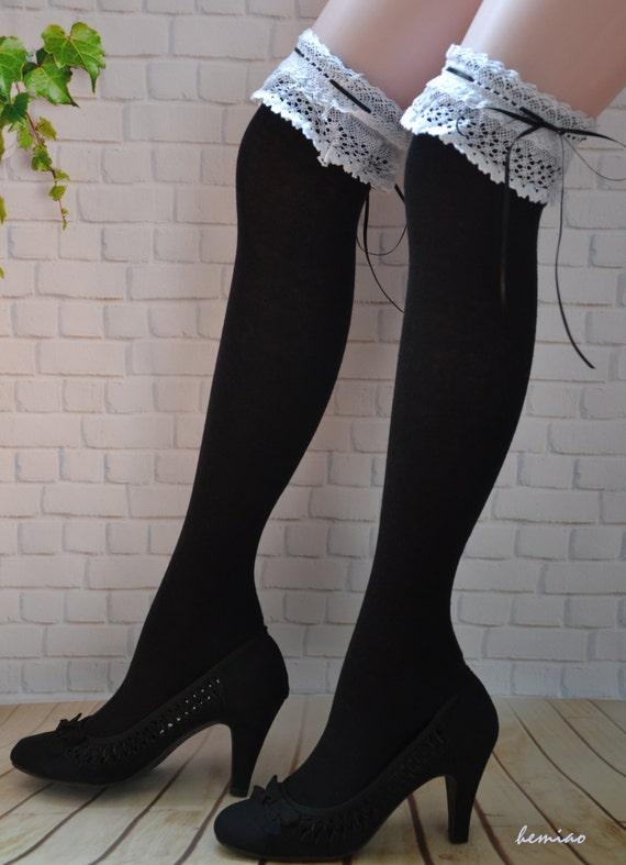 vente cuisse haute noir chaussettes cuisse noire par hemiao sur etsy. Black Bedroom Furniture Sets. Home Design Ideas