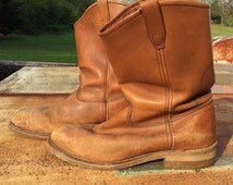 Steel Toe Vintage Work Boots - Brown Leather Motorcycle Boots - Goodyear Soles - Georgia Boot Co.