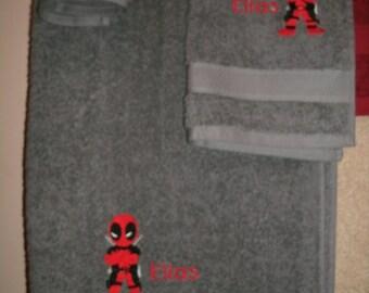 Personalized Dead Pool 3 piece Bath towel, hand towel & Washcloth Set Super Hero Dead Pool