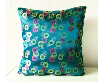 Blue Pink Gold Metallic Floral Chinese Silk Brocade Cushion Throw Pillow Cover 16x16 inches