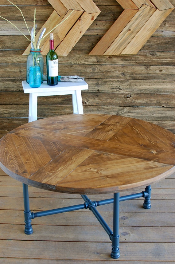 Round pattern industrial coffee table reclaimed wood for Round table legs diy