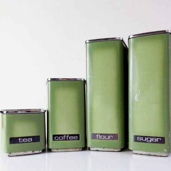 green kitchen storage vintage canister set avocado green metal kitchen storage 1438