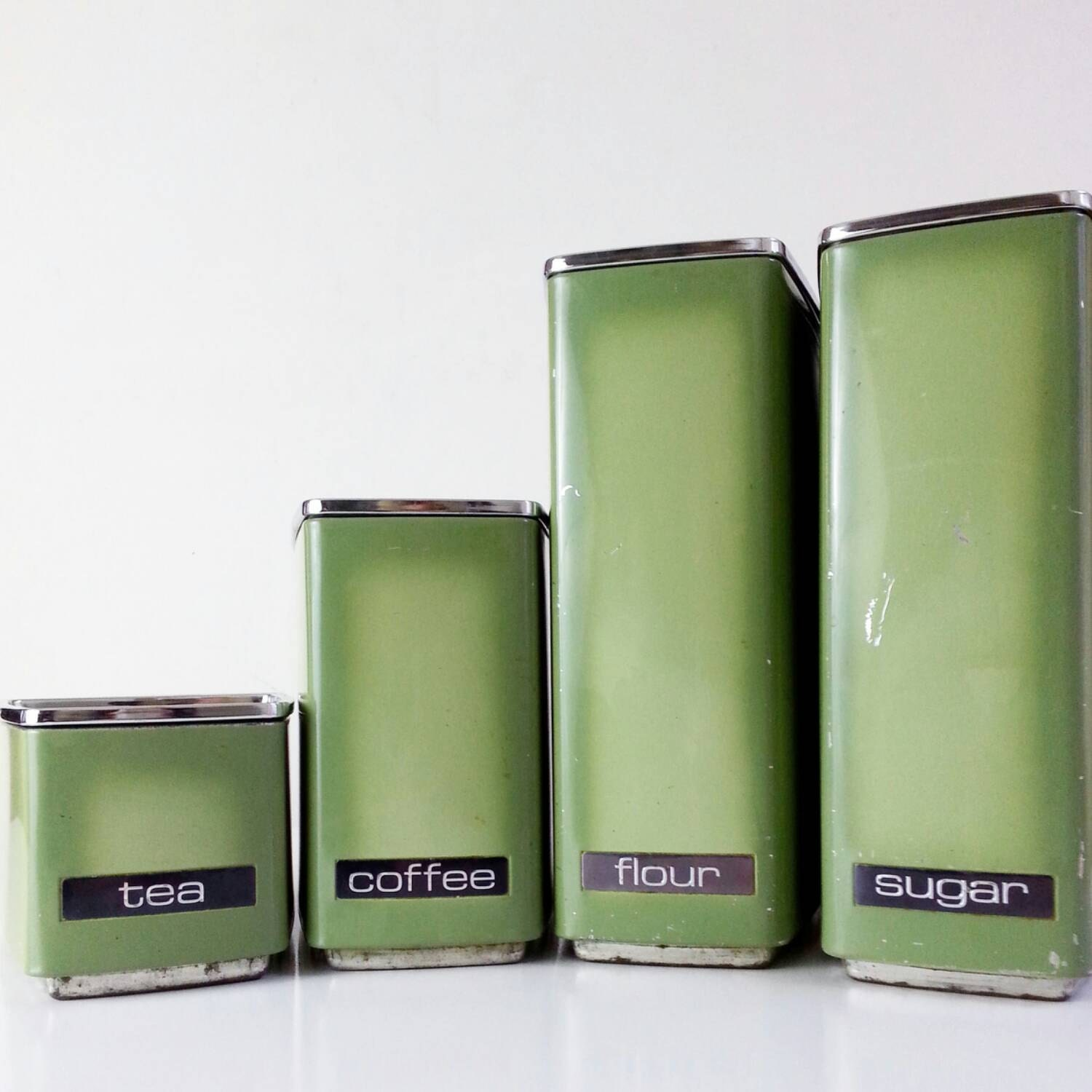 vintage canister set avocado green metal kitchen storage