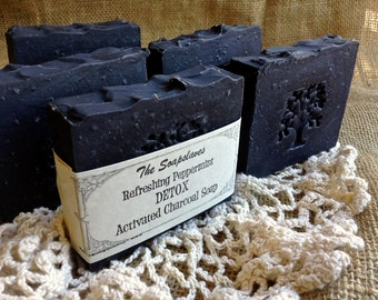 Activated Charcoal Soap, Detox Soap, Eucalyptus, TeaTree,Spearmint scented