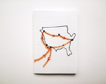 Travel zine: AMERICA // poetry / prose // handmade zine / handwritten zine // journal excerpts