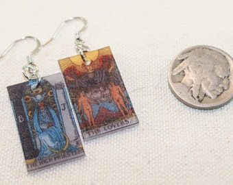 The High Priestess and The Lovers Tarot Card Earrings