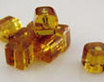 Amber glass cube 4 x 4 mm beads yellow cube beads 25 beads