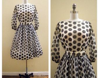 Vintage 1960's Black and White Polka dot party dress