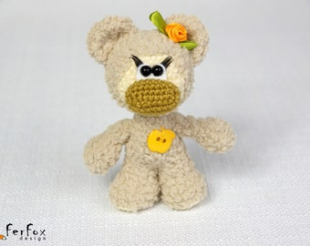 Crochet plush bear, teddy bear, amigurumi bear, crochet animal, stuffed bear, softie bear - Tina the Girl-bear