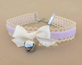 Lavender Kitty Bell Chokers