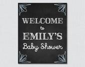 Blue Chalkboard Baby Show...