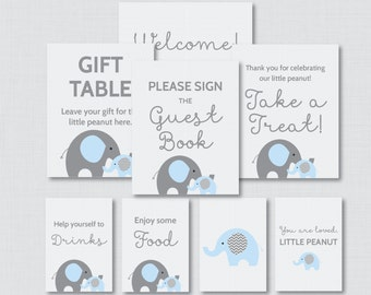 Printable Elephant Baby Shower Table Signs - EIGHT Signs! Welcome Sign, Favors Sign, etc - Instant Download - Blue and Gray Signs 0024-B