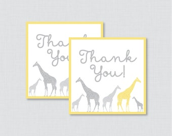 Printable Giraffe Baby Shower Favor Tags Thank You Tag for Giraffe Baby Shower - Printable Instant Download - Yellow Giraffe Favor - 0011-Y