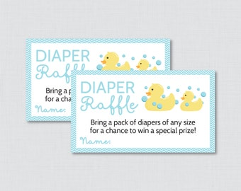 Rubber Ducky Baby Shower Diaper Raffle Tickets and Diaper Raffle Sign in Blue - Printable Diaper Raffle Cards and Sign - 0019-B