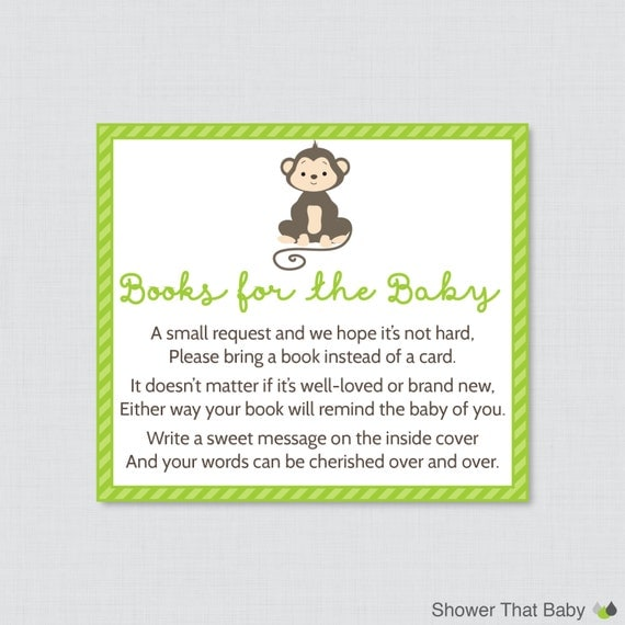 monkey baby shower bring a book instead of a card invitation inserts