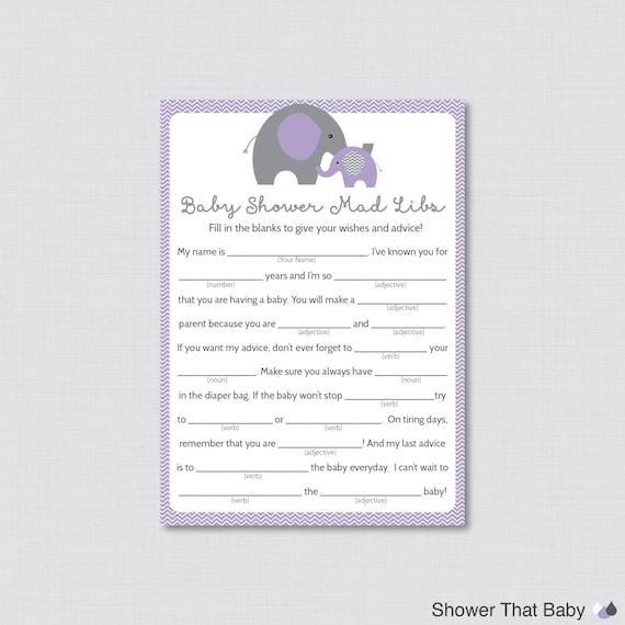 Elephant Baby Shower Mad Libs Printable Baby Shower Advice