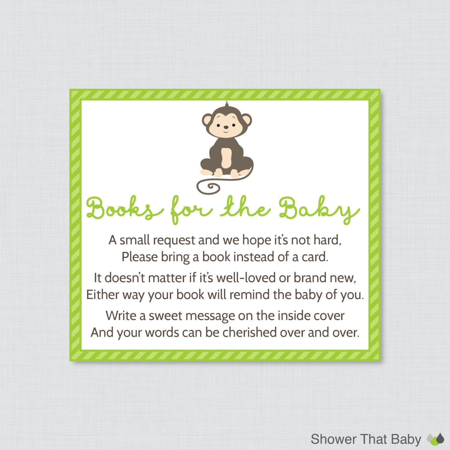 Monkey Baby Shower Bring a Book Instead of a Card Invitation