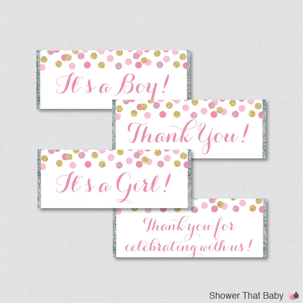 pink and gold printable candy bar wrapper for baby shower