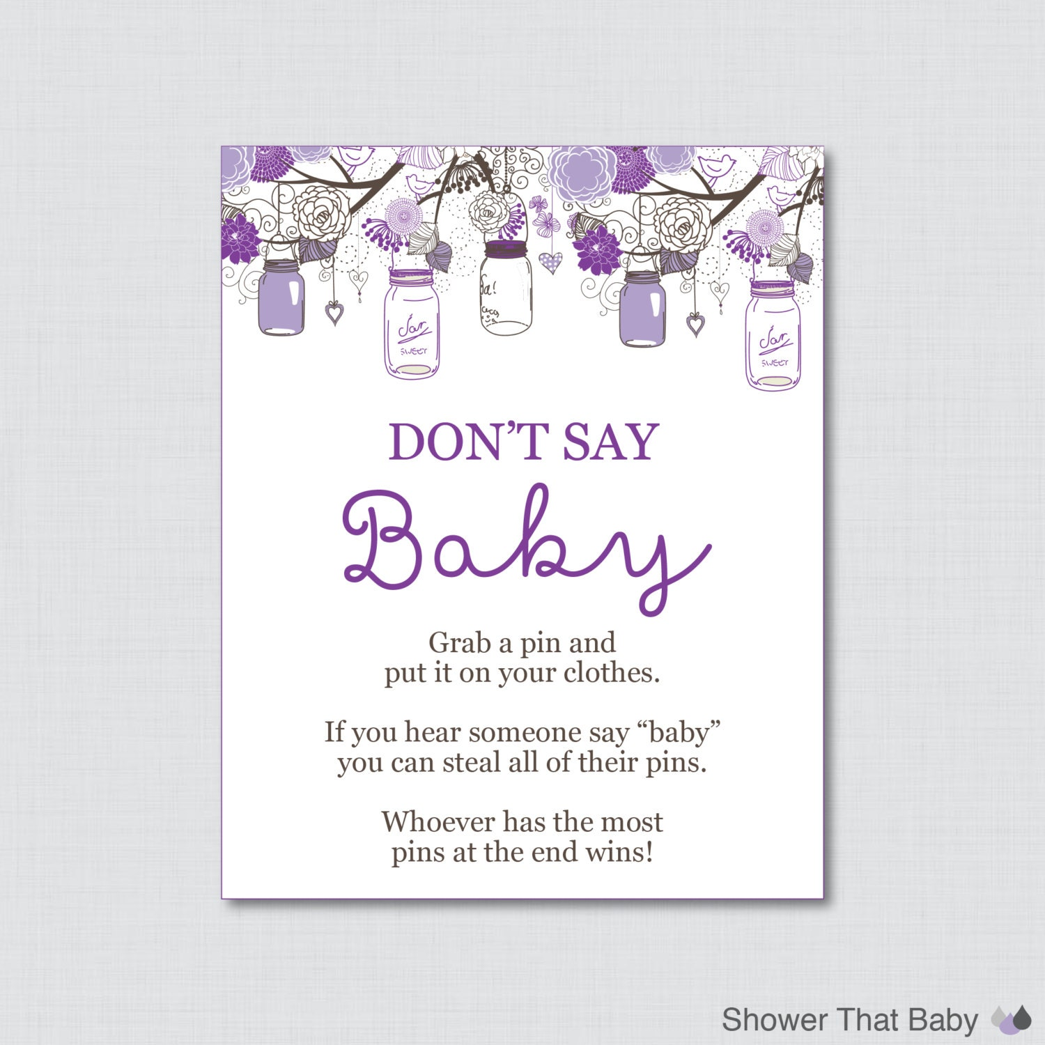 Don t Say Baby Baby Shower Game Printable Don t Say