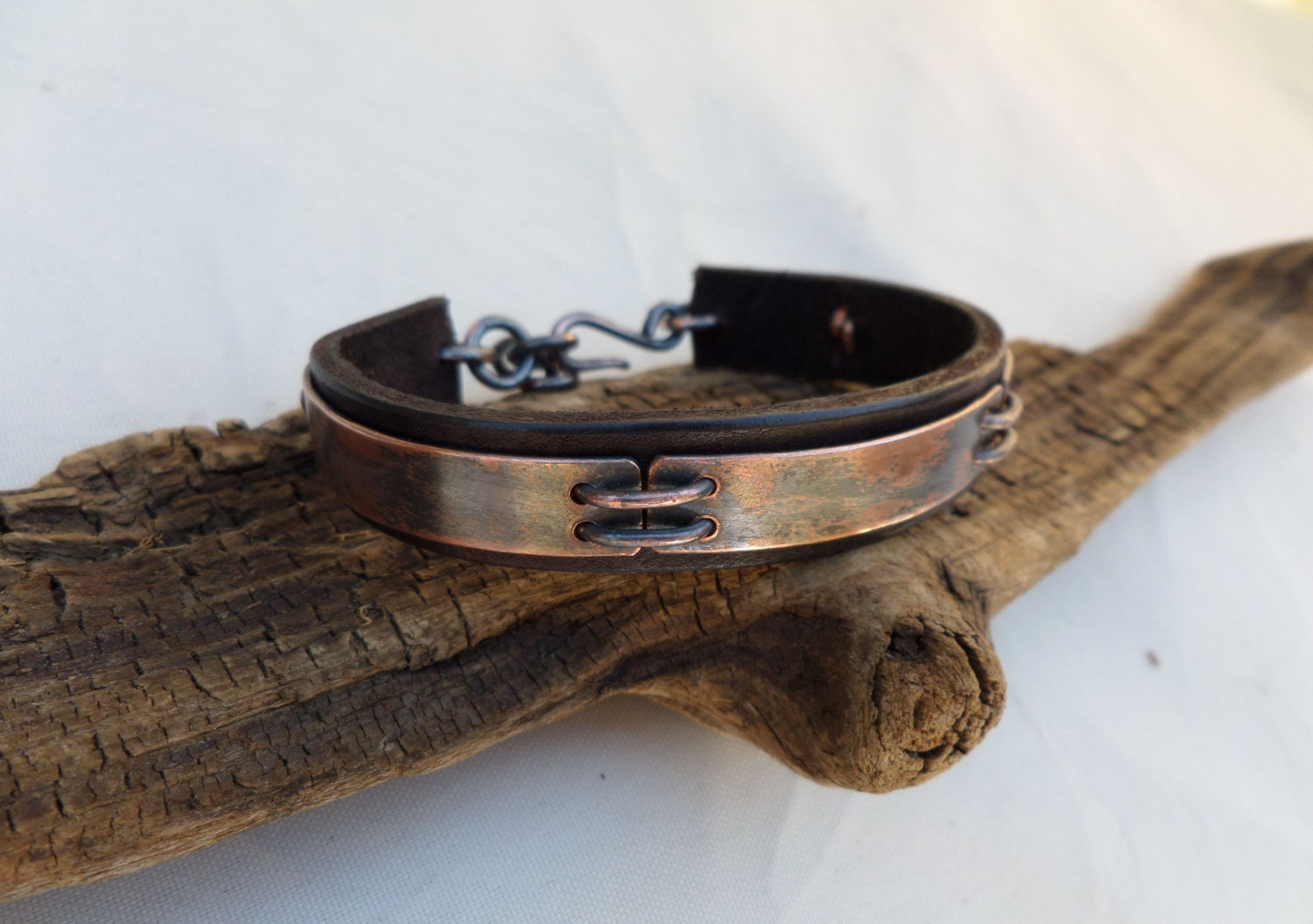 leather and copper bracelet s leather and copper
