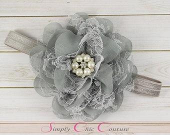 Gray Flower Girl Headband, Wedding Headband, Grey Baby Headband, Grey Chiffon Flower Headband, Newborn Headband, Big Flower Headband