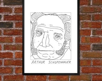 Badly Drawn Arthur Schopenhauer - Literary Poster - *** BUY 4, GET A 5th FREE***
