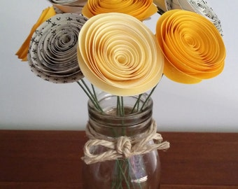 Paper Flower Posy - 9 Yellow